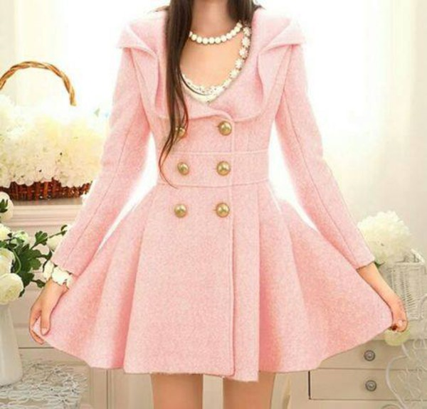 Free Shipping Latest Fashion Pink Long Sleeve Double Breasted