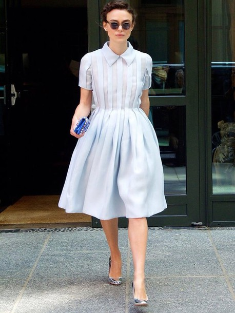 Dress: blue dress, blue, shirt dress, keira knightley - Wheretoget