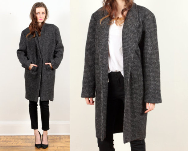 Coat: grey wool coat, oversize coat - Wheretoget