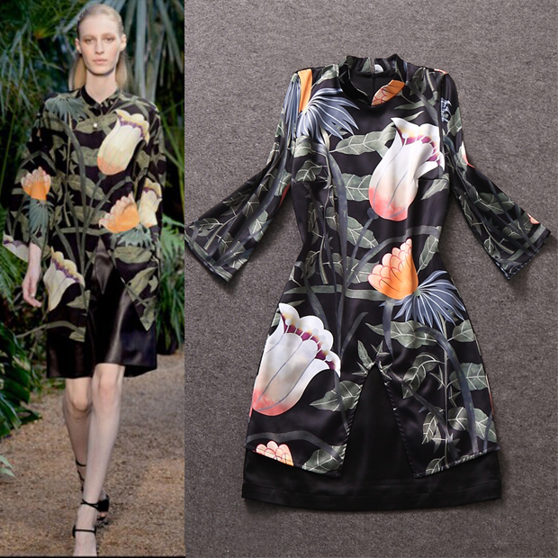 Aliexpress.com : buy high quality 2014 runway women three quarter sleeve printing autumn dress xl from reliable xl wedding dress suppliers on lady vivian's luxury discount store