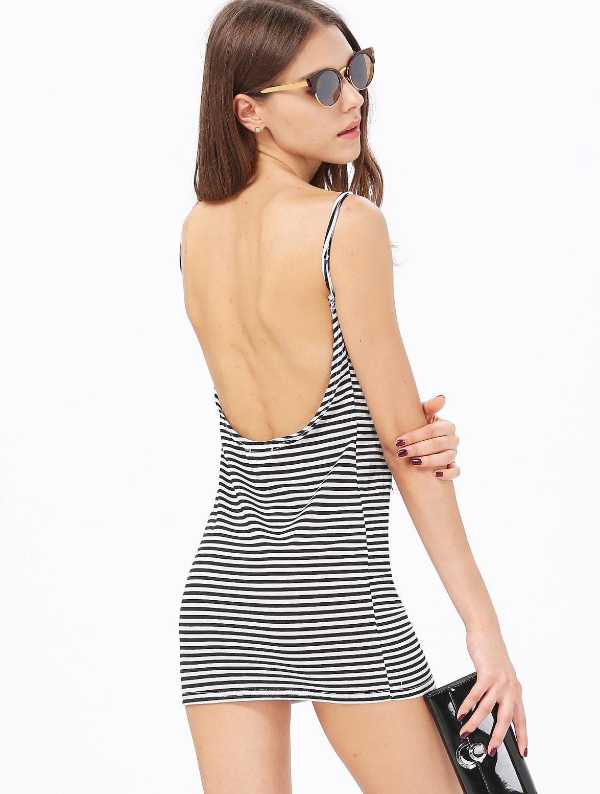 Black White Striped Spaghetti Strap Backless Dress - Sheinside.com