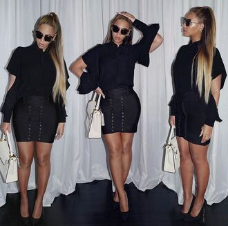 skirt top black mini skirt sunglasses beyonce pumps purse