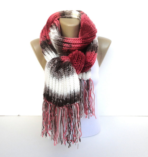 knit scarf hand knitted women scarf / long by senoAccessory