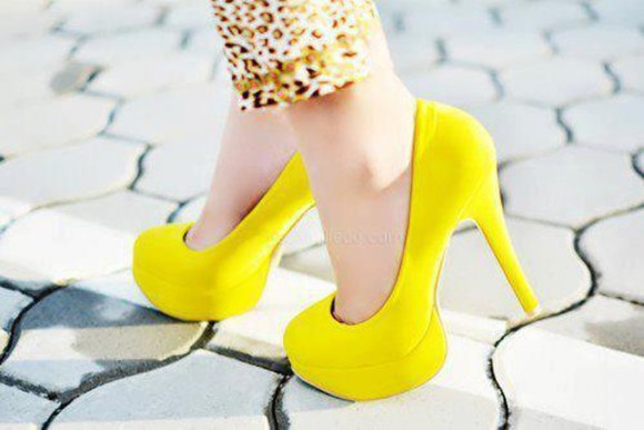 yellow chic shoes cute