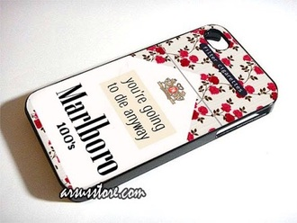 floral phone case cigarette marlboro quote on it technology
