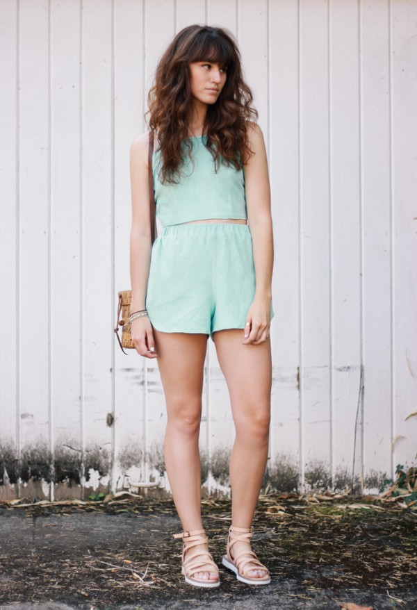the mop top shoes bag jewels two-piece mint crop tops shorts sandals hipster summer outfits