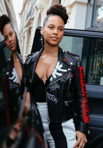 jacket top alicia keys paris fashion week 2017 streetstyle fashion week 2017 plunge v neck