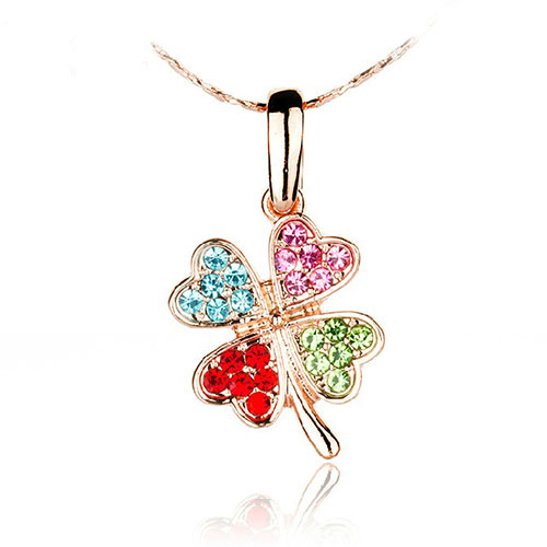 Lucky Stylish Bling Clover Rhinestone Pendant Necklace [grxjy5100210] on Luulla