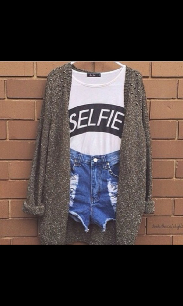 selfie High waisted shorts comfy sweater comfy top selfie top white black girly shorts tank top cardigan jeans tumblr cute