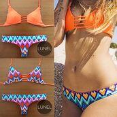 swimwear,colorful swimwear,bikini,aztec,summer crush,reverse,colourful print