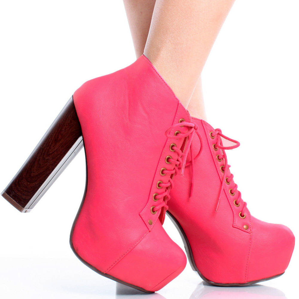 Lace Up Designer Inspired Women Chunky Heel Platform Ankle Boots ...