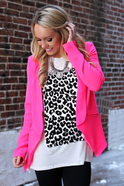 Find and save ideas about Hot pink blazers on Pinterest. | See more ideas about Pink blazers, Pink blazer outfits and Love pink jackets. liking though would rather no hot pink jacket) Women's Suit Shop 96 This neon pink jacket paired with a summery white dress is perfect for work or play!