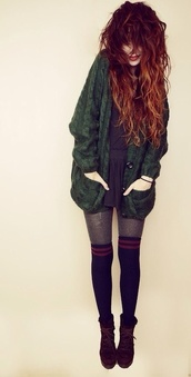 green sweater,socks,grunge,fall outfits,hair,knee high socks,old school,hairstyles,back to school,cardigan,dress,coat