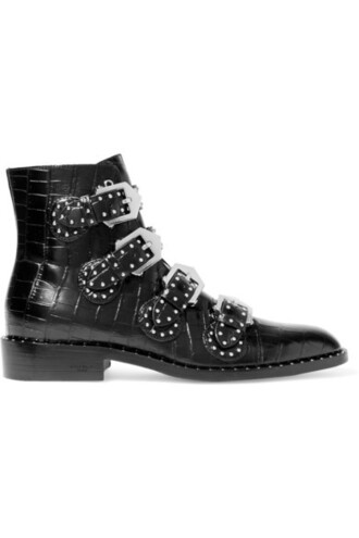 studded boots ankle boots leather black shoes