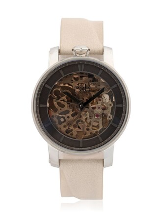 watch leather white jewels