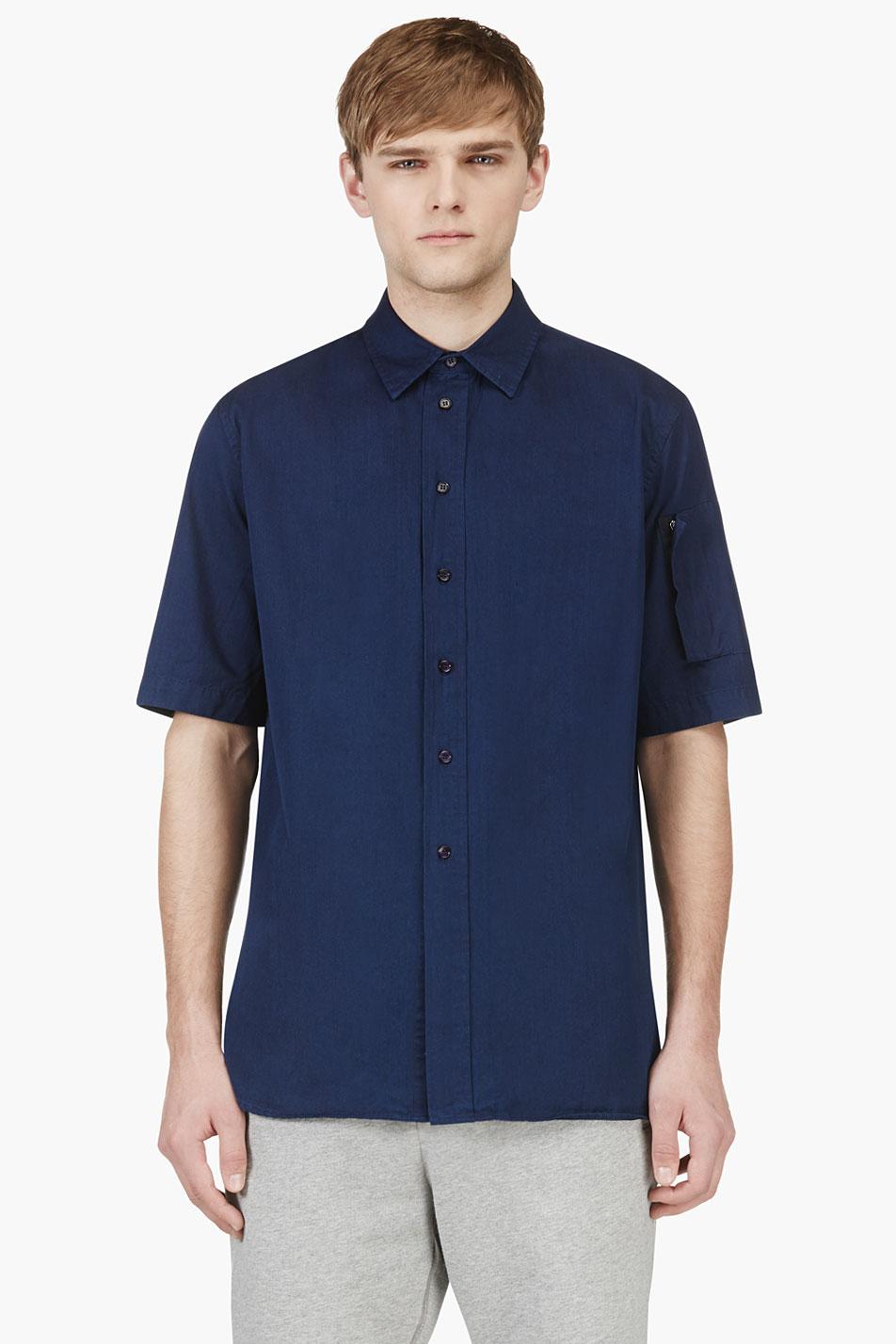 marni indigo short sleeve button down shirt