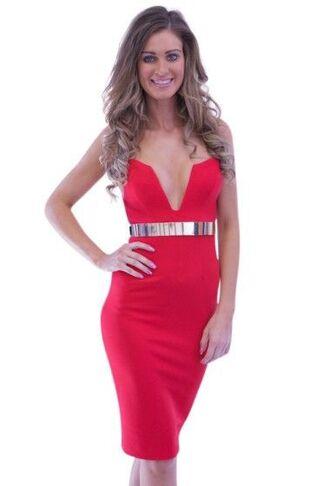 dress red dress bodycon dress v plunge midi dress