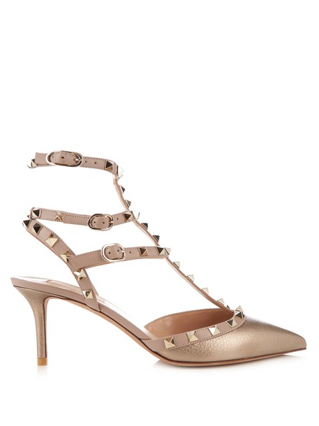 Valentino pumps leather gold shoes