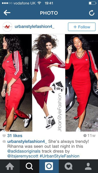 dress adidas long dress rihanna