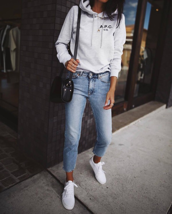 gorgeous gray hoodie outfit tumblr girls