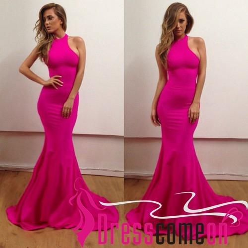Cheap Mermaid High Neck Sweep Train Satin Long Hot Pink Evening Dress/Prom Dress
