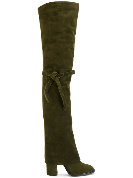 CASADEI women leather suede green shoes