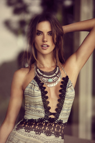 romper top dress boho alessandra ambrosio necklace jewels