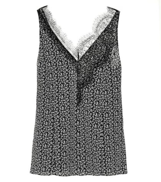 Joseph Printed silk and lace tank top in black