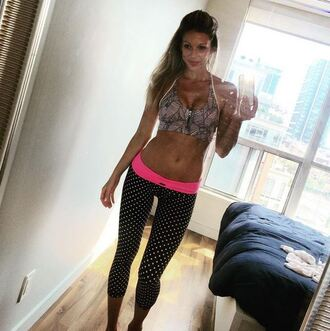 pants miriam mcdonalds degrassi yoga pink polka polka dots leggings