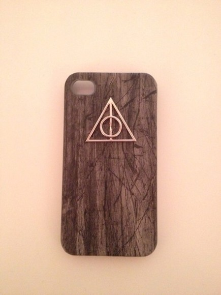 harry potter jewels deathly hallows symbol iphone case wood