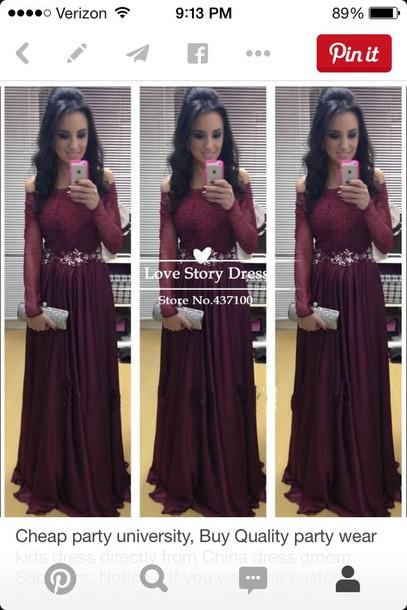 dress long maroon/burgundy off the shoulder sequins