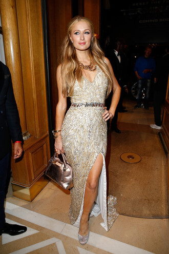 dress gown paris hilton prom dress slit dress sparkly dress