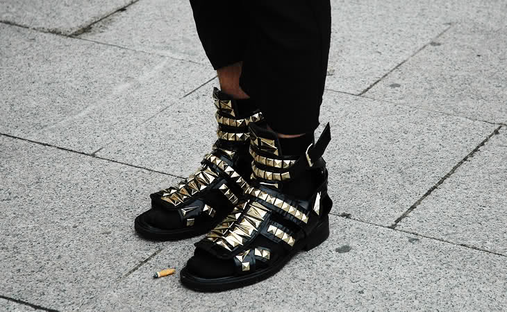 G i v e n c h y: panos yiapanis in givenchy spring 2010 studded gladiator sandals