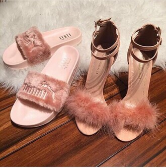 shoes puma rihanna fenty x puma fluffy flip flops slippers pink pink heels fluffy fur light pink heels furry heels sandal heels high heels high heel sandals rose dusty pink straps cute soft fuzzy heels pink sandals fluffy heels fluffy slides slide shoes