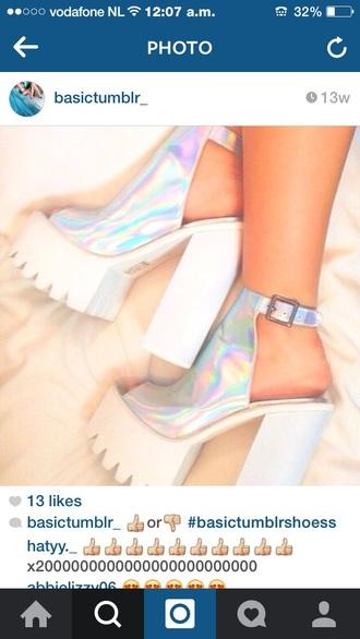shoes holographic shoes cute platforms tumblr shoes