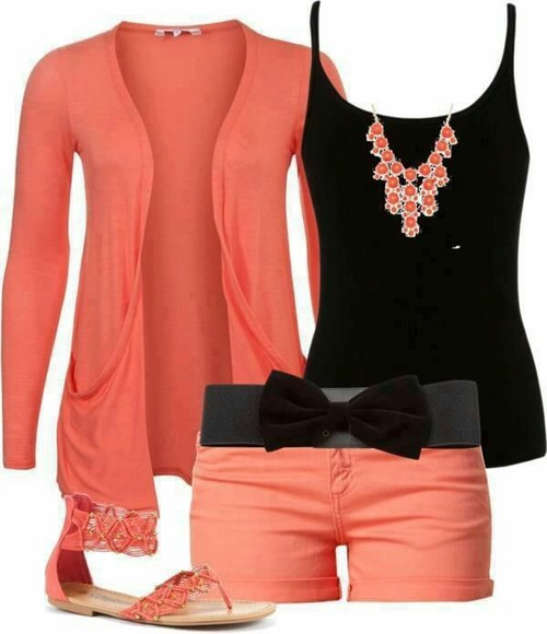 shorts orange bow salmon