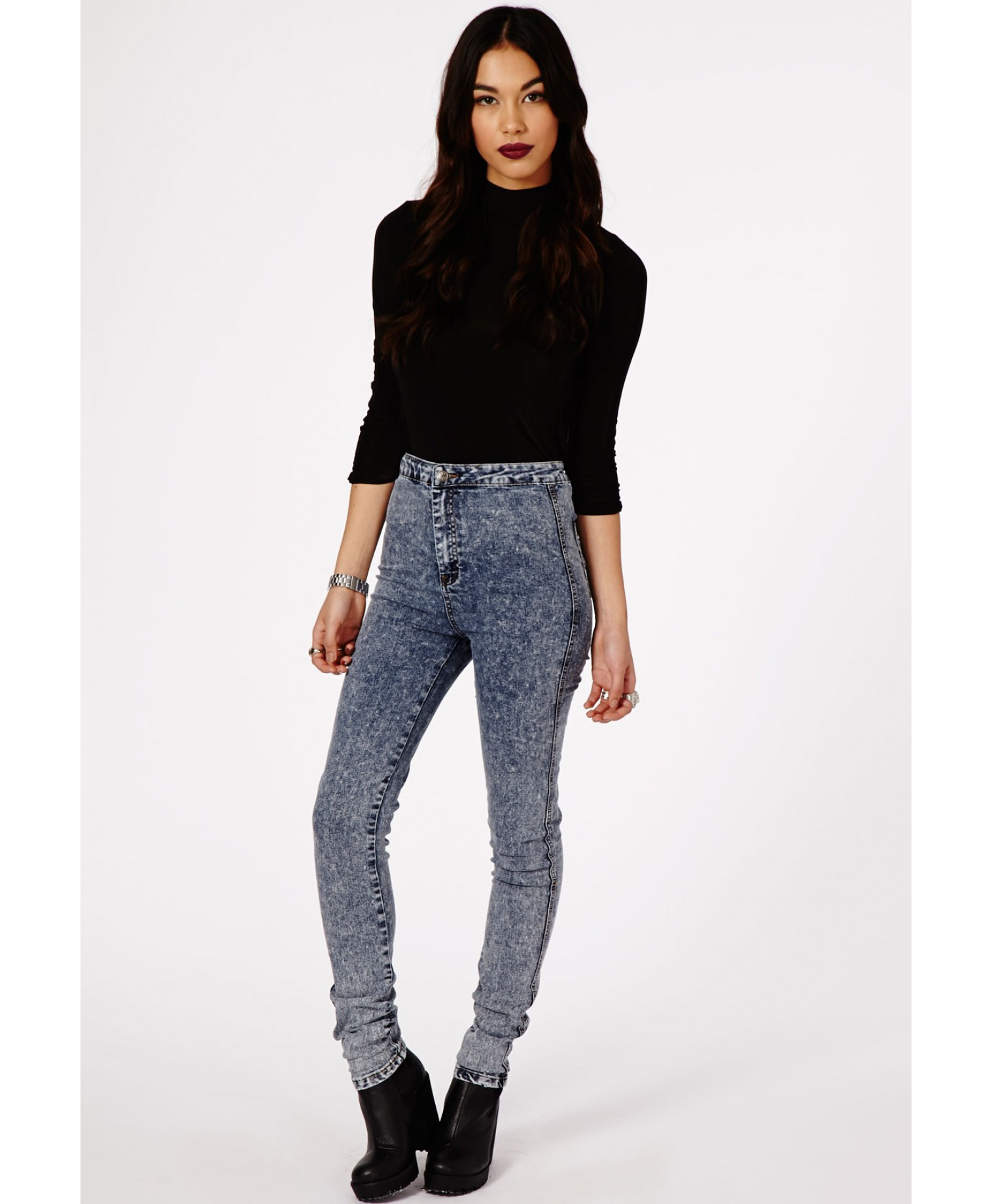 Missguided - Brigitte Disco Fit Skinny Jeans In Acid Wash