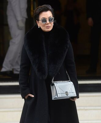bag diorama bag silver bag dior bag dior chain bag coat winter coat black coat fur collar coat sunglasses mirrored sunglasses kris jenner celebrity style celebrity