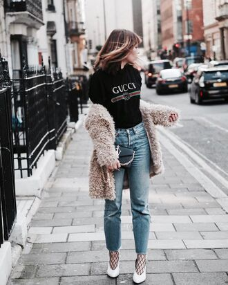 t-shirt tumblr black t-shirt logo logo tee jacket pink jacket fur jacket fuzzy jacket denim jeans blue jeans tights net tights fishnet tights shoes high heels heels white heels glove heels gucci t-shirt faux fur coat black fishnets black purse