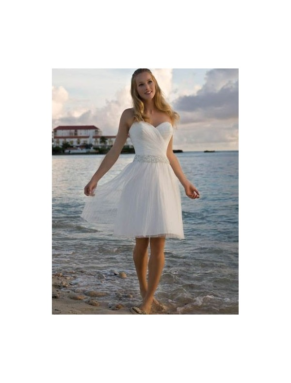Organza and Lace Sweetheart Neckline A-Line Wedding Dress with Beaded Waistline - Bridal Gowns - RainingBlossoms