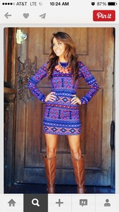 dress,purple,aztec,blue,long sleeves,shoes,blue dress,mixed prints,colorful,navy,red,bodycon dress,bright,pattern,tribal print dress,tribal pattern,belt,boots,winter outfits,fall outfits,brown leather boots,fashion,cute dress,long sleeve dress,aztec print dress,purple dress,slim fit dress,coral bubble necklace,tribal dress,western,southern outfit,short dress,blue tribal dress,blue aztec dress,print,pinterest,design dress,short party dresses,shorts,patterned dress,vibrant,statement necklace,fall dress,bright blue coloured,where did u get that,dress pattern tribal,pink,aztec dress,design,cute shoes,outfit,tumblr outfit,tribal pattern dress,home accessory,colorful dress,printed dress,bold,colorfull dress,sweater dress,blue with tribal print