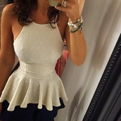 top,cream,white,lace,peplum,cute