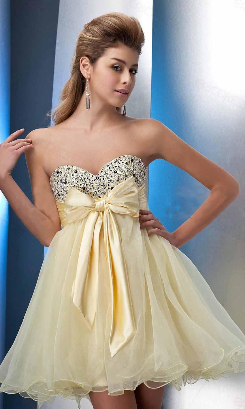 Pastel Yellow Sequin Empire Bowknot Short Prom Gown KSP392 [KSP392 ...