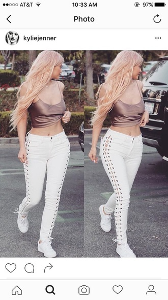 jeans white white pants tie up
