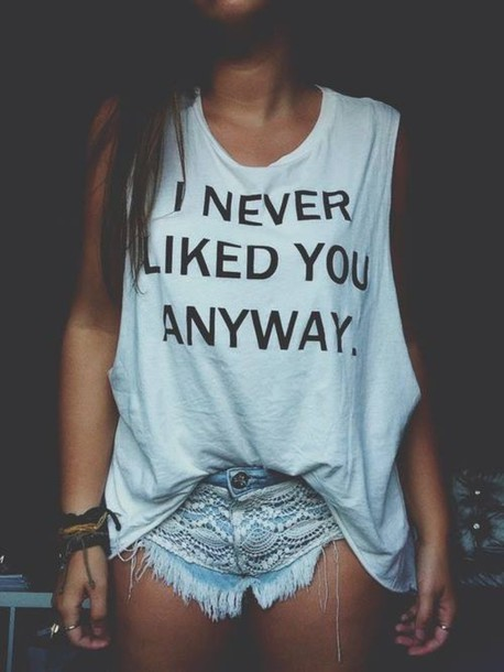white top, quote on it, tank top, lace shorts, short ...