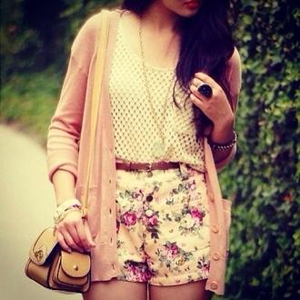 shorts clothes floral shorts top bag cardigan