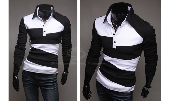Korean Style Fashion Color Stitching Long Sleeve Fitting Shirt For Men