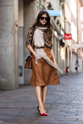 the fashion fraction blogger top skirt belt scarf shoes sunglasses