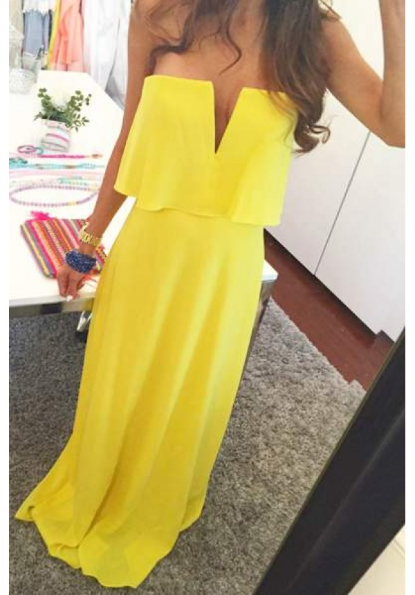 Blakely - Strapless yelow maxi dress with