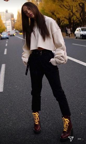 top alexis ren belt jeans streetstyle black pants